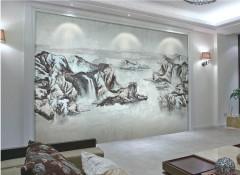 沁绣墙布壁画系列装修案例一,壁画墙布效果图