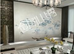 沁绣墙布壁画系列装修案例二,壁画墙布效果图 (13)