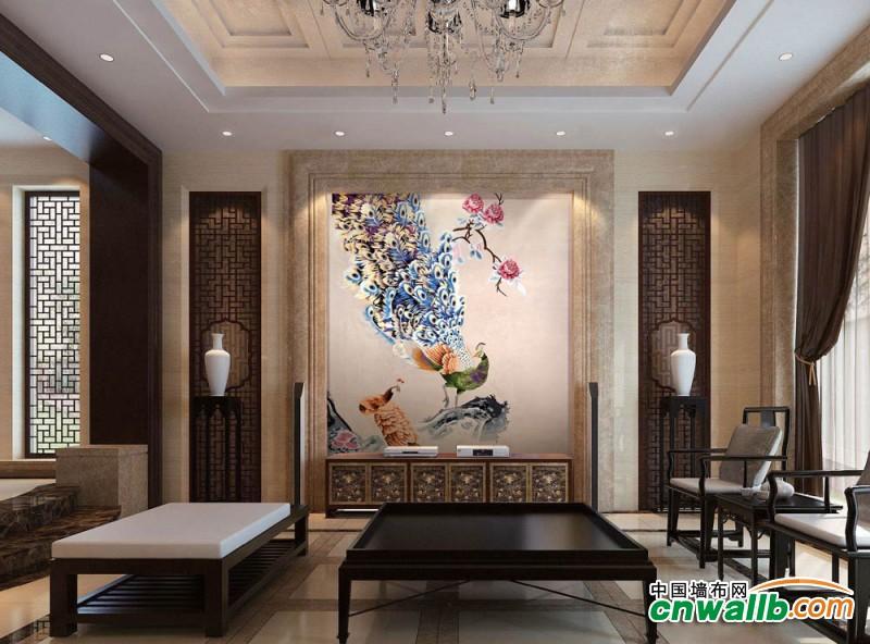 沁绣墙布壁画系列装修案例二,壁画墙布效果图