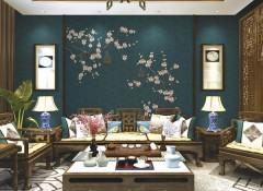 逸绣无缝墙布独秀系列产品客厅装修效果图