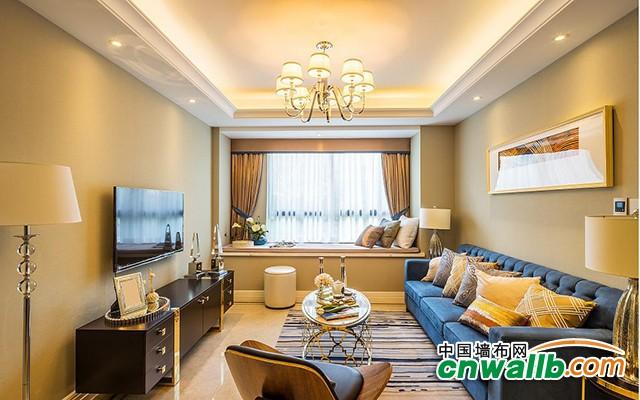 汇明提花墙布客厅各类风格装修效果图 客厅墙布装修案例