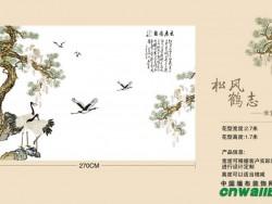 锦尚帛美独花背景系列松风鹤志-米黄