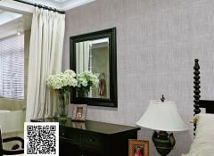 蝶绣仿麻布系列产品效果图,客厅墙布装修案例
