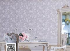 蝶绣暗纹提花系列墙布装修效果图,卧室墙布装修案例