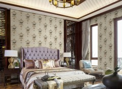 沐丝墙布卧室装修效果图,卧室欧式风格墙布装修案例