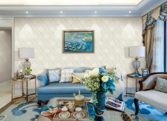 七特丽无缝壁布客厅装修案例,十几款客厅墙布装修效果图
