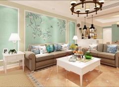 大自然墙布卧室背景装修效果图,卧室墙布装修图