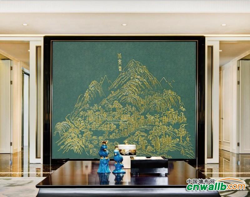 客厅背景墙无缝墙布装修效果图,锦尚帛美客厅墙布装修案例