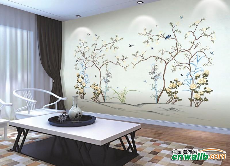 沁绣墙布独花系列背景墙装修效果图