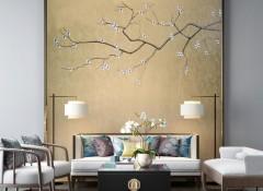 朵薇拉无缝墙布沙发背景墙装修效果图