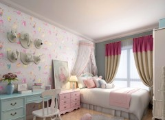 儿童房墙面装修效果图,朵薇拉墙布儿童房卧室装修图 (5)