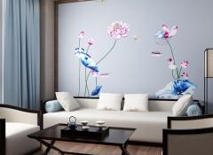 欧可丽墙布新中式客厅装修,新中大墙布装修图
