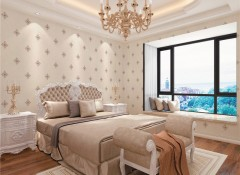 莱可秀尔墙布现代简约风卧室装修效果图