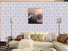 诗画江南墙布简约风格客厅背景墙装修效果图