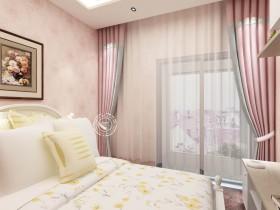 如鱼得水现代风卧室窗帘装修实景图 卧室窗帘图