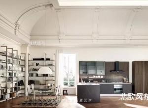 逸绣墙布开放式厨房墙布的搭配 当欧式风遇到现代风