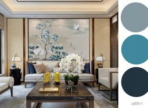 诗画江南墙布客厅背景墙效果图,独幅背景墙系列