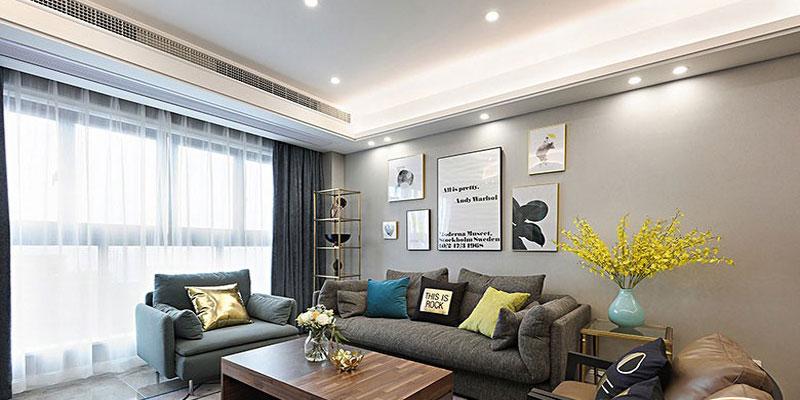 格林馨语墙布现代简约风格客厅卧室装修图