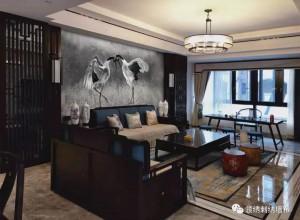 领绣刺绣墙布中式风客餐厅装修效果图