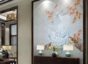 曼秀无缝墙布玄关背景墙效果图,中式背景墙装修图