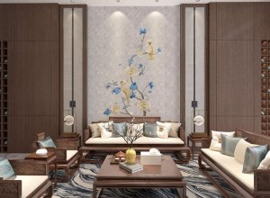 曼秀刺绣墙布客厅+玄关背景墙装修图,新中式背景墙效果图