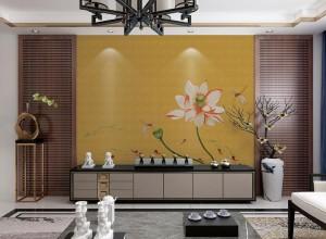 曼秀无缝墙布新中式风格背景墙装修效果图