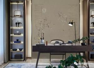 领绣刺绣墙布玄关背景墙装修图,新中式玄关效果图