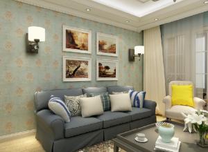 红宝石美式刺绣墙布装修图片,美式沙发背景墙效果图
