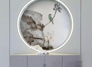 领绣刺绣墙布玄关装修图片,风水还是格调,两者皆有!