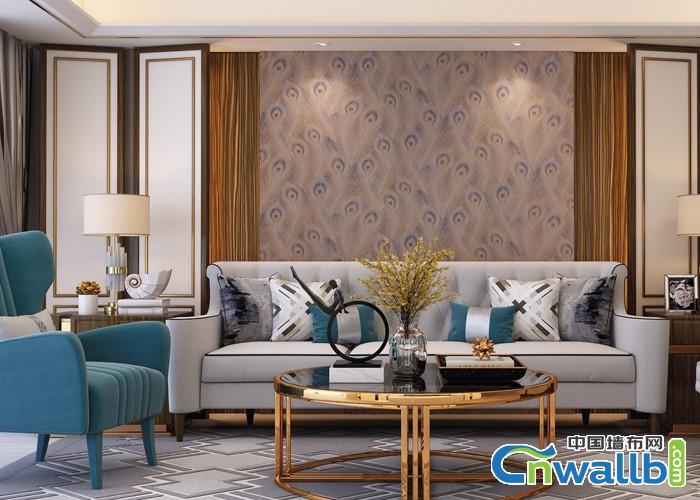 宏绣墙布客厅沙发背景墙装修效果图