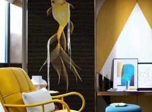 领绣刺绣墙布鱼跃龙门系列玄关背景墙装修图片