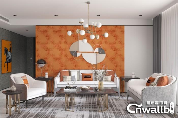 宏绣无缝墙布客厅沙发背景墙装修效果图
