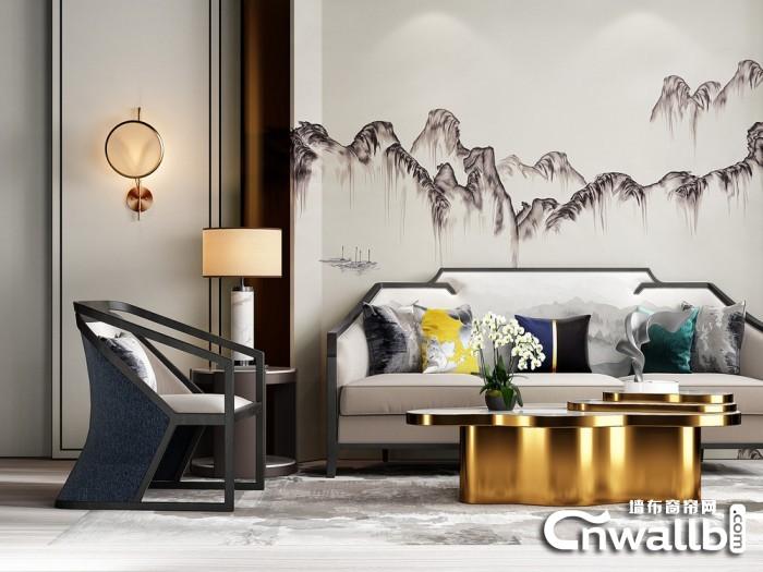 新中式风格喀厅效果图片,宏绣客厅背景墙装修效果图