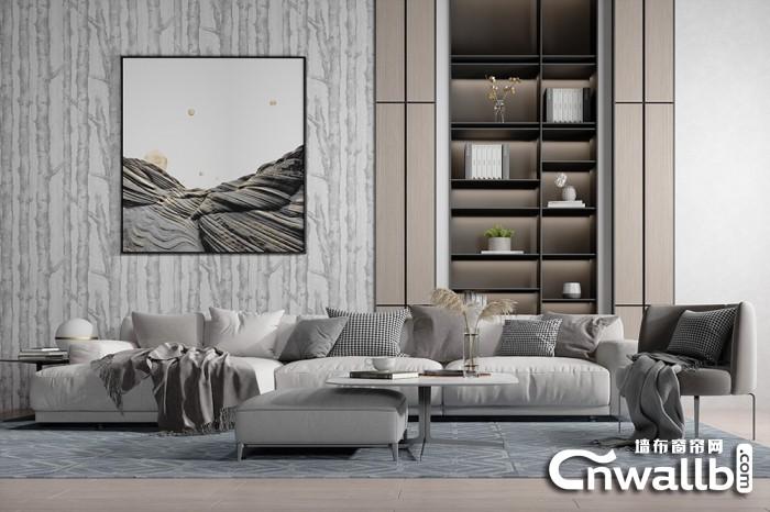 各种轻奢风背景墙效果图,宏绣墙布背景墙装修图片
