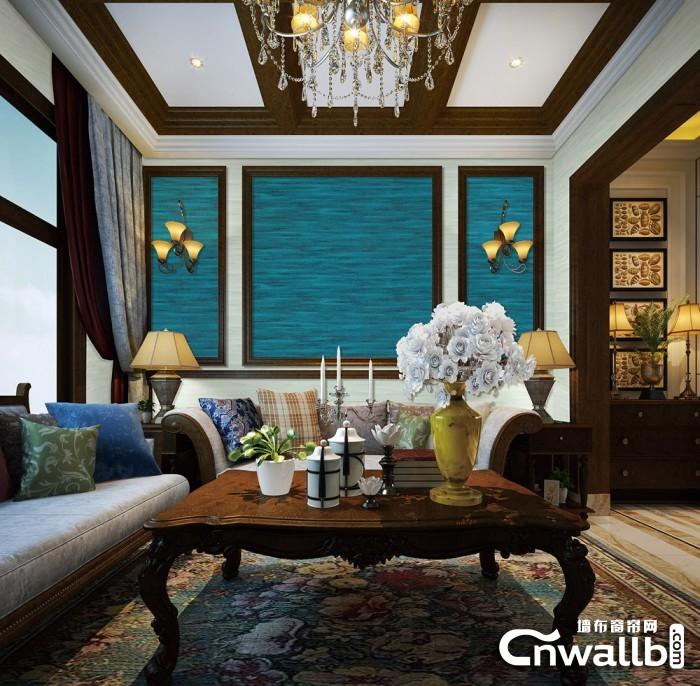 壁多美墙布客厅装修效果图,客厅背景装修图片
