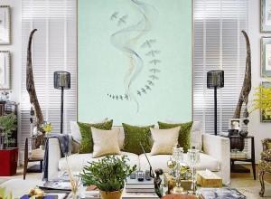 鑫丽阁无缝墙布客厅背景墙装修图,简约与新中风效果图