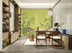 新中式风格书房装修效果图,鑫丽阁墙布书房装修图片
