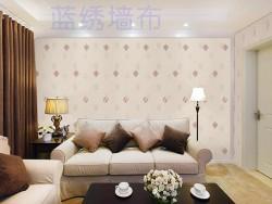 蓝绣刺绣壁布客厅LX15020