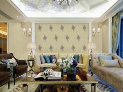 蓝绣刺绣壁布客厅LX24017
