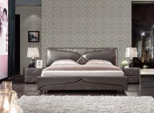 圣玛兰琪墙布卧室背景墙装修图,现代简约卧室效果图