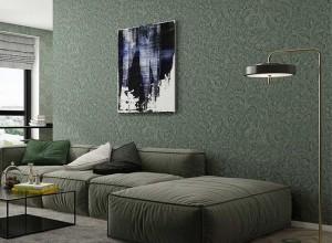 多乐士墙布轻奢风客厅背景墙装修效果图