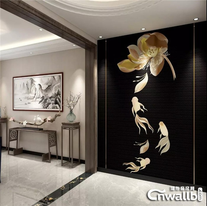科布斯独家新品墙布鱼戏莲间首发,邀你欣赏江南好风光!