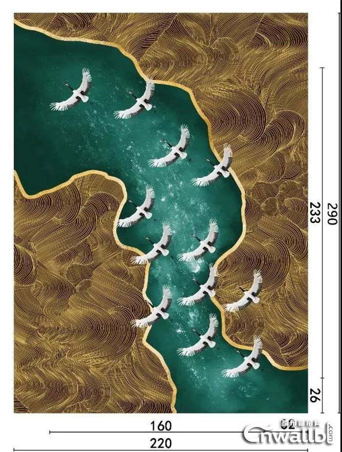 科布斯新品墙布碧海仙鹤,展现秋高气爽的秋季佳景!