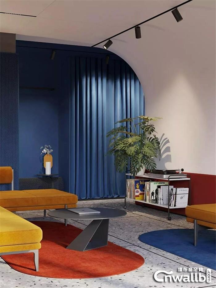 大胆配色 秀出个性,走进雅诗澜墙布黄与蓝的色彩世界!