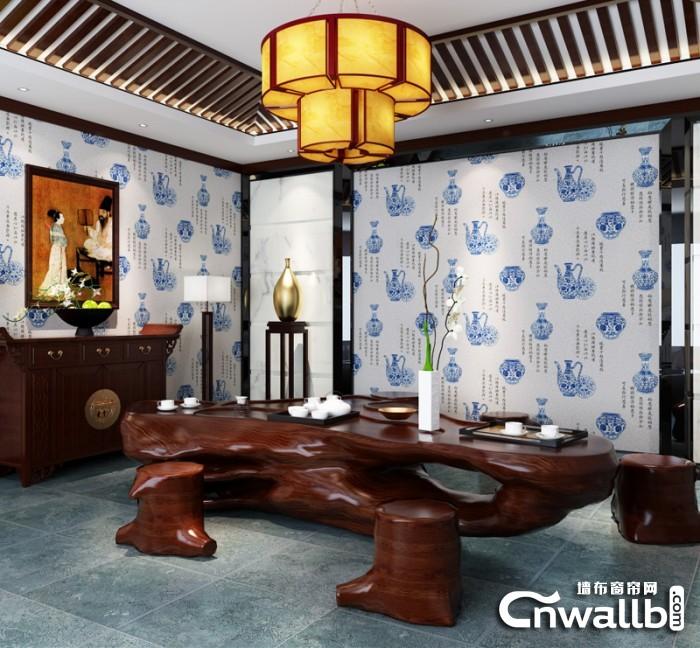 九龙墙布中式背景墙装修效果图