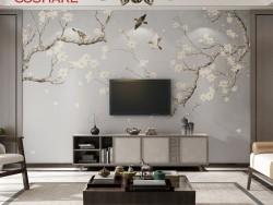 科翔宣绒布新中式花鸟壁画