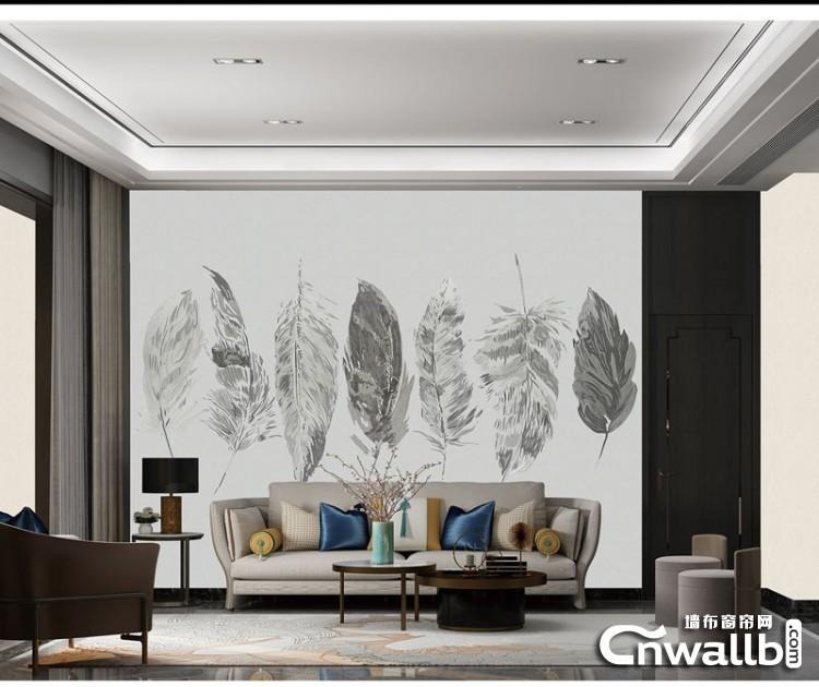 安妮家无缝墙布客厅背景墙装修效果图