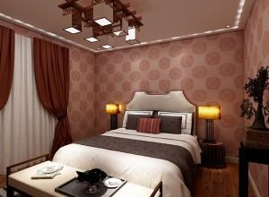安妮家无缝墙布古典中式风卧室装修效果图
