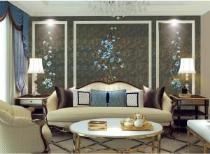 优克奢驿墙布新中式风格客厅背景墙效果图