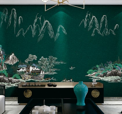 VISA高端墙布刺绣系列床头背景墙装修效果图